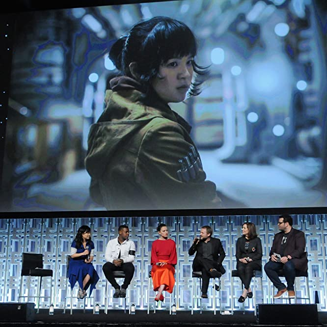 Kathleen Kennedy, Rian Johnson, Josh Gad, John Boyega, Kelly Marie Tran, and Daisy Ridley at an event for Star Wars: The Last Jedi (2017)