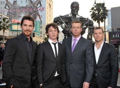 Christian Bale, McG, Sam Worthington, and Anton Yelchin at Terminator Salvation (2009)