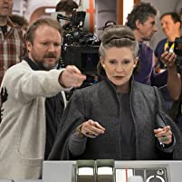 Rian Johnson and Carrie Fisher on the set of 'The Last Jedi'