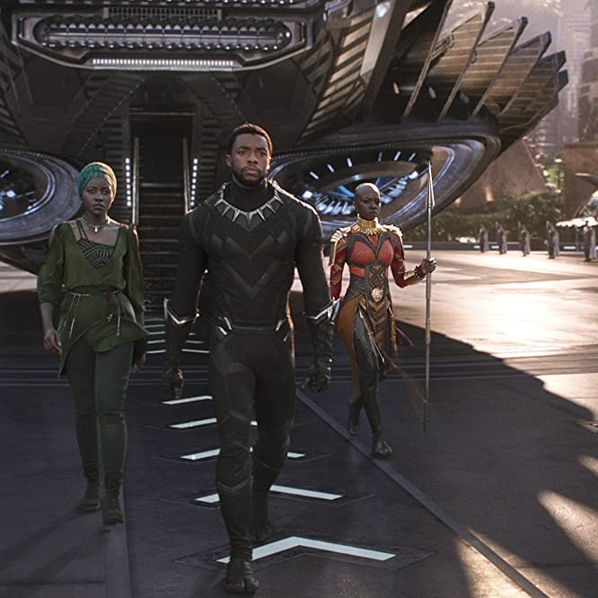 Chadwick Boseman, Danai Gurira, and Lupita Nyong'o in Black Panther (2018)