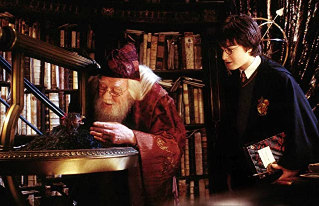 Richard Harris and Daniel Radcliffe in Harry Potter and the Chamber of Secrets (2002)