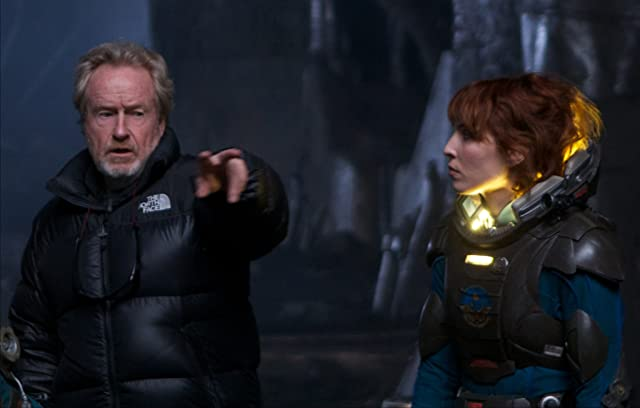 Ridley Scott and Noomi Rapace in Prometheus (2012)