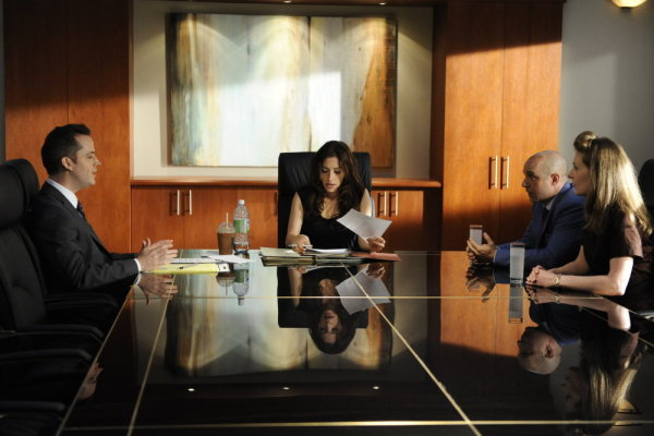 Brian Markinson, Eileen Pedde, and Sarah Shahi in Fairly Legal (2011)