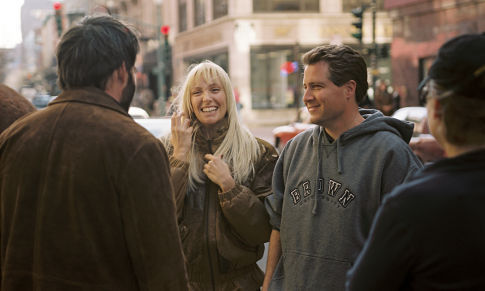 Jeff Nathanson (right) works out a scene with Matthew Broderick (left) and Toni Collette (center).