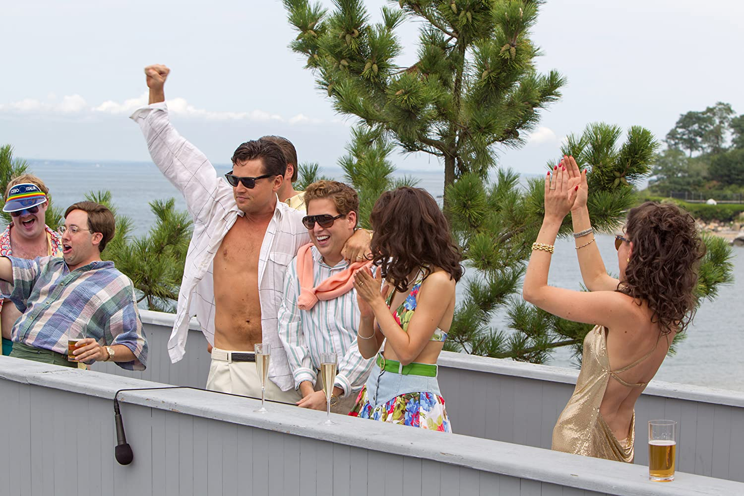 Leonardo DiCaprio, P.J. Byrne, Jonah Hill, Cristin Milioti, Henry Zebrowski, and MacKenzie Meehan in The Wolf of Wall Street (2013)