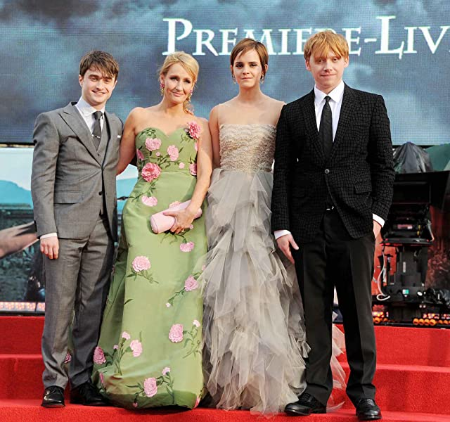 Rupert Grint, Daniel Radcliffe, J.K. Rowling, and Emma Watson at Harry Potter and the Deathly Hallows: Part 2 (2011)