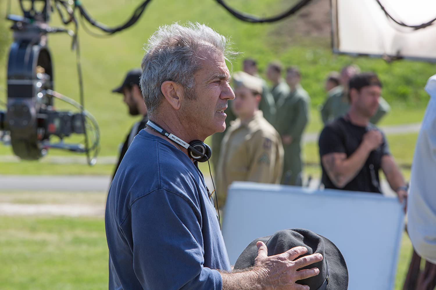 Mel Gibson on the set of 'Hacksaw Ridge' (Courtesy: Lionsgate)