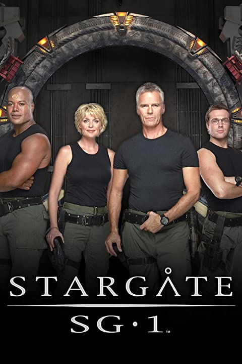Richard Dean Anderson, Christopher Judge, Michael Shanks, and Amanda Tapping in Stargate SG-1 (1997)