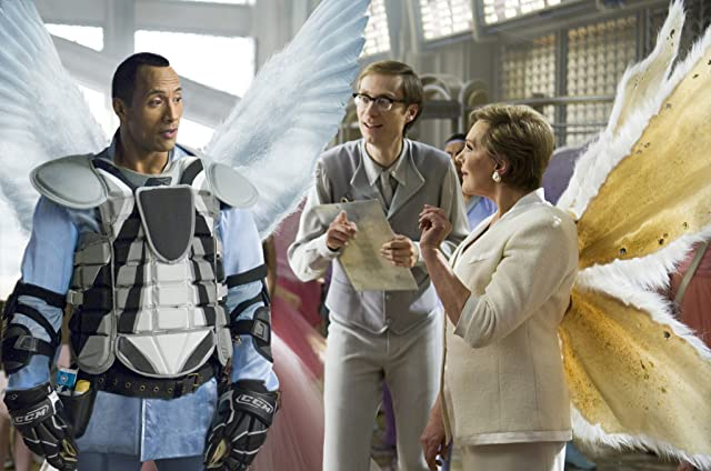 Julie Andrews, Dwayne Johnson, and Stephen Merchant in Tooth Fairy (2010)