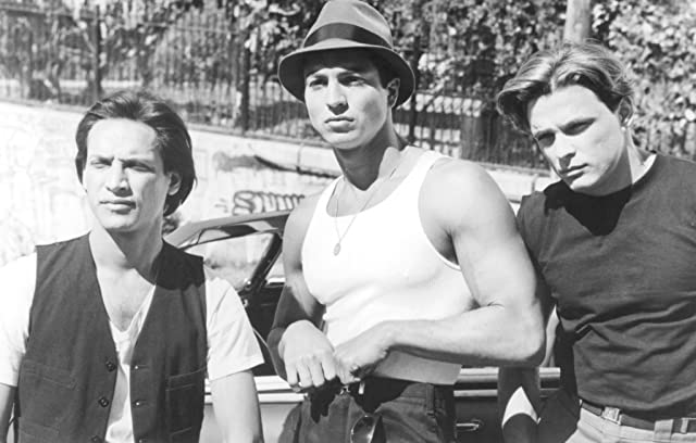 Benjamin Bratt, Jesse Borrego, and Damian Chapa in Blood In, Blood Out (1993)