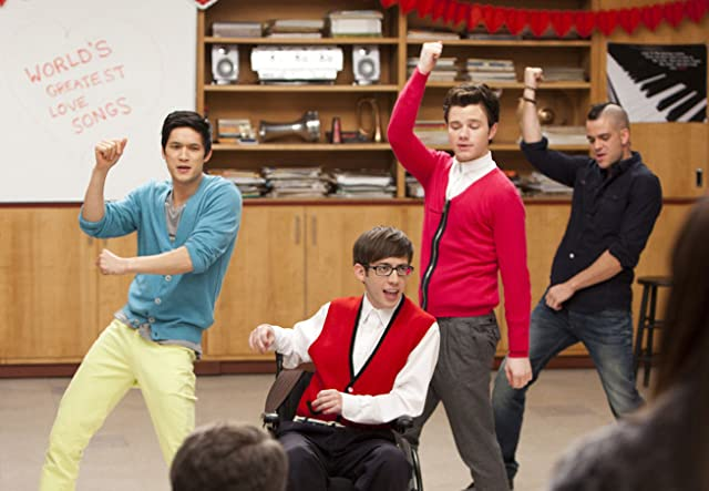 Mark Salling, Harry Shum Jr., Kevin McHale, and Chris Colfer in Glee (2009)