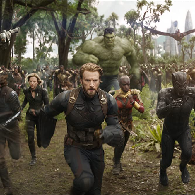 Don Cheadle, Chris Evans, Scarlett Johansson, Anthony Mackie, Chadwick Boseman, Sebastian Stan, and Danai Gurira in Avengers: Infinity War (2018)