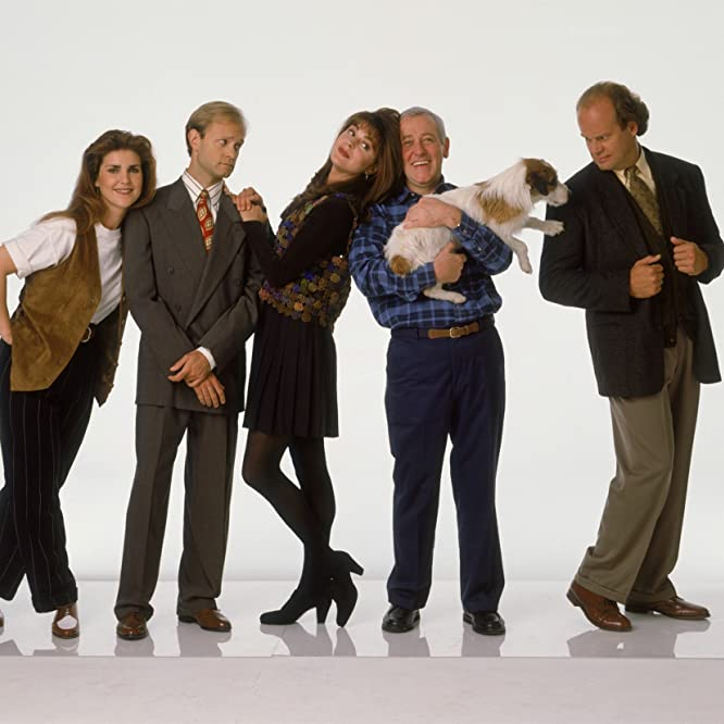 Kelsey Grammer, David Hyde Pierce, John Mahoney, Peri Gilpin, and Jane Leeves in Frasier (1993)