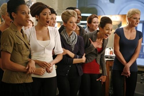 Sheena Sakai, Analeigh Tipton, Samantha Potter, Joslyn Pennywell, Marjorie Conrad, Clark Gilmer, Lauren Brie Harding, Hannah White, and Isis King in America's Next Top Model (2003)