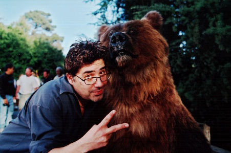 Director Steve Carr with star Archie the Bear on the set of