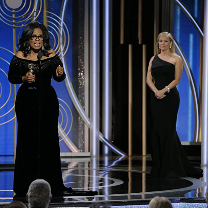 Reese Witherspoon and Oprah Winfrey at an event for The 75th Golden Globe Awards (2018)