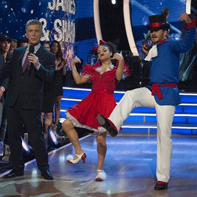 Tom Bergeron, Val Chmerkovskiy, and Laurie Hernandez in Dancing with the Stars (2005)