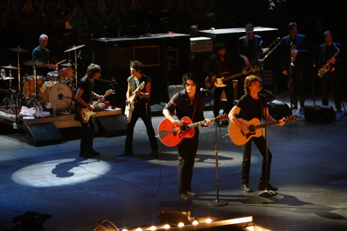 Mick Jagger, Keith Richards, Charlie Watts, Ronnie Wood, and Jack White in Shine a Light (2008)