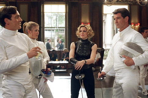 Good fencing makes good neighbors: (L to R) Gustav Graves (TOBY STEPHENS), Miranda Frost (ROSAMUND PIKE), Verity (MADONNA), and James Bond (PIERCE BROSNAN).