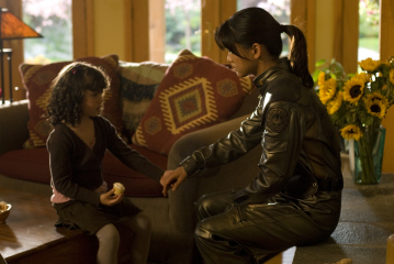Grace Park and Iliana Gomez-Martinez in Battlestar Galactica (2004)