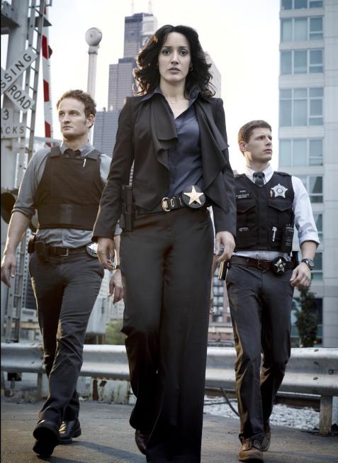Jennifer Beals, Jason Clarke, and Matt Lauria in The Chicago Code (2011)