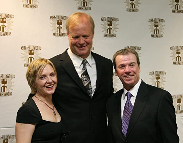 Presenters of the voice acting awards Carolyn Lawrence, Bill Fagerbakke, and Rodger Bumpass.