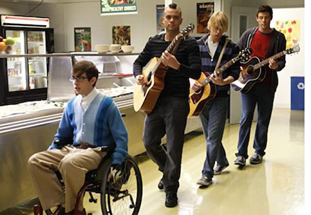 Mark Salling, Cory Monteith, Kevin McHale, and Chord Overstreet in Glee (2009)
