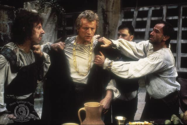 Rutger Hauer, Brion James, Bruno Kirby, and Noah Taylor in Flesh+Blood (1985)