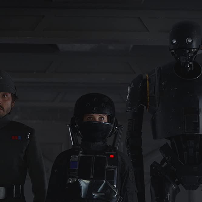 Felicity Jones, Diego Luna, and Alan Tudyk in Rogue One (2016)