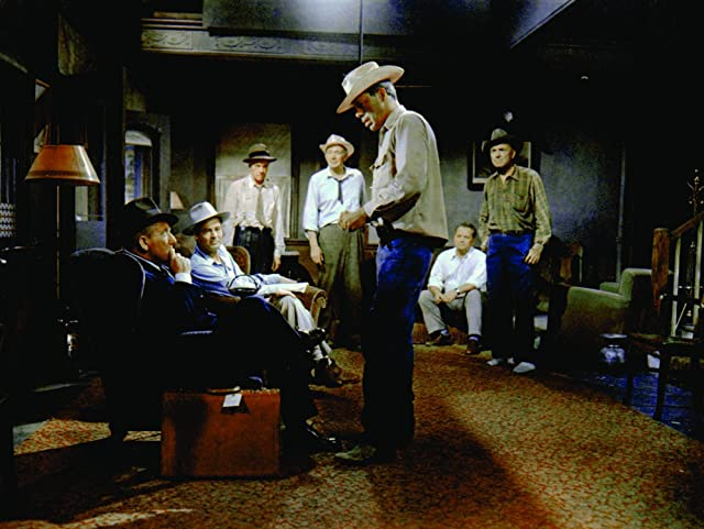 Spencer Tracy, Walter Brennan, Lee Marvin, Russell Collins, Dean Jagger, Robert Ryan, and Walter Sande in Bad Day at Black Rock (1955)