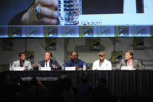 Dolph Lundgren, Arnold Schwarzenegger, Sylvester Stallone, Terry Crews, and Randy Couture at The Expendables 2 (2012)