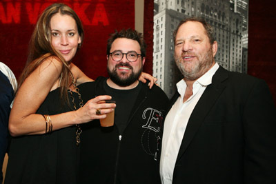 Kevin Smith, Harvey Weinstein, and Jennifer Schwalbach Smith at Zack and Miri Make a Porno (2008)