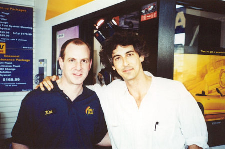 Steve Heller with director Alexander Payne on the set of ABOUT SCHMIDT.
