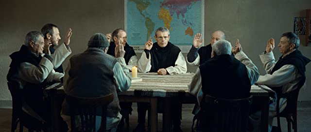 Jean-Marie Frin, Philippe Laudenbach, Xavier Maly, Loïc Pichon, Olivier Rabourdin, and Lambert Wilson in Of Gods and Men (2010)