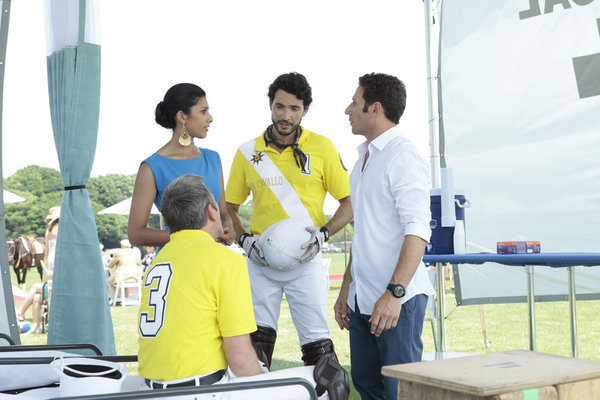 Gary Cole, Mark Feuerstein, Khotan Fernandez, and Reshma Shetty in Royal Pains (2009)