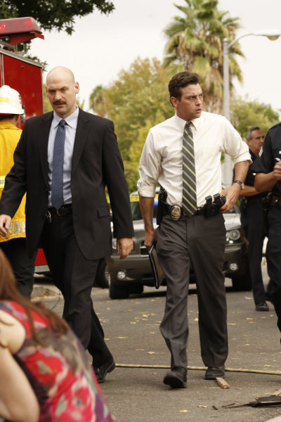 Skeet Ulrich and Corey Stoll in Law & Order: LA (2010)