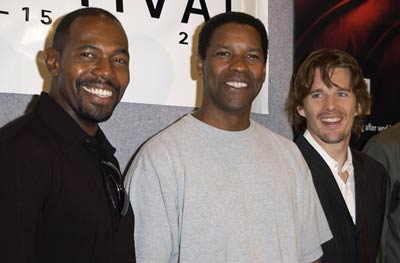 Ethan Hawke, Denzel Washington, and Antoine Fuqua at an event for Training Day (2001)
