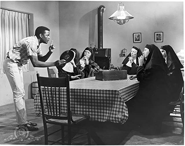 Sidney Poitier, Pamela Branch, Isa Crino, Francesca Jarvis, Lisa Mann, and Lilia Skala in Lilies of the Field (1963)