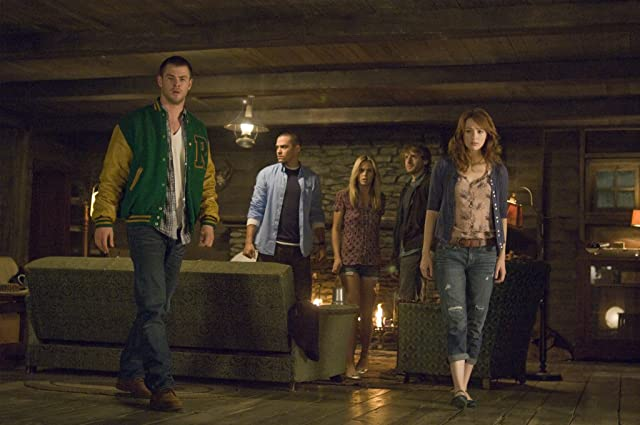 Anna Hutchison, Fran Kranz, Jesse Williams, Chris Hemsworth, and Kristen Connolly in The Cabin in the Woods (2012)