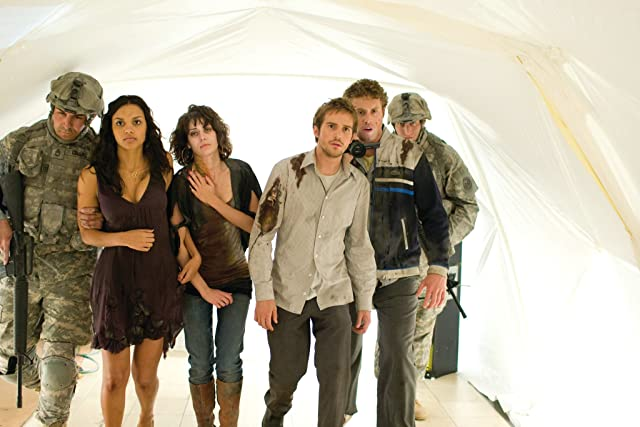 Lizzy Caplan, Jessica Lucas, Michael Stahl-David, and T.J. Miller in Cloverfield (2008)