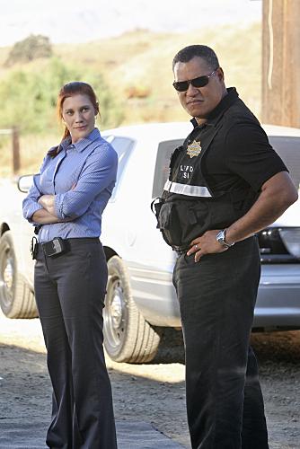 Laurence Fishburne and Katee Sackhoff in CSI: Crime Scene Investigation (2000)