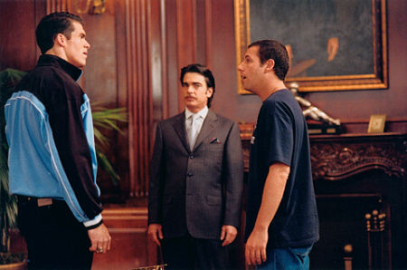 Brandon Molale, Peter Gallagher, and Adam Sandler in