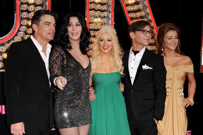 Cher, Peter Gallagher, Christina Aguilera, Steve Antin, and Julianne Hough at Burlesque (2010)