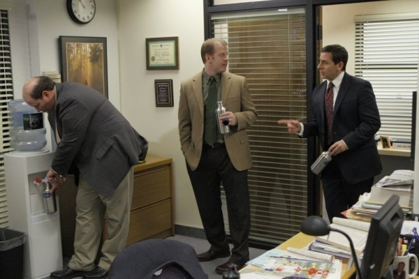 Steve Carell, Paul Lieberstein, and Brian Baumgartner in The Office (2005)