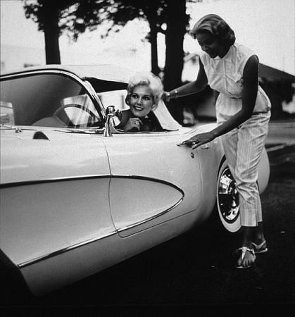 Kim Novak in her new Corvette