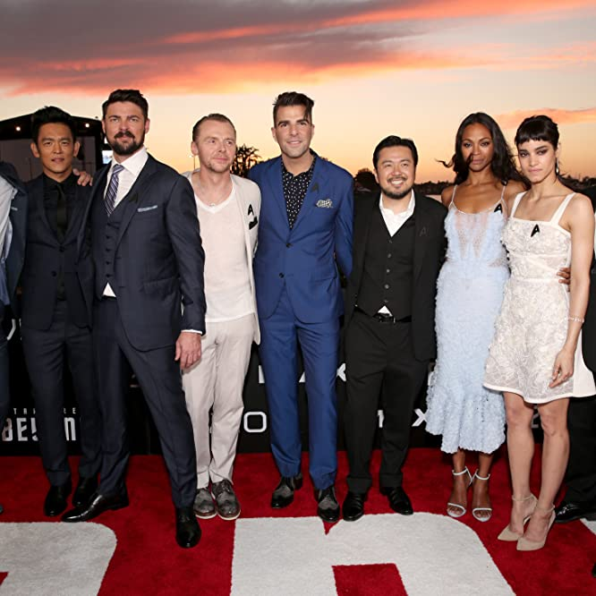 J.J. Abrams, John Cho, Justin Lin, Simon Pegg, Zachary Quinto, Zoe Saldana, Karl Urban, Sofia Boutella, and Chris Pine at an event for Star Trek Beyond (2016)