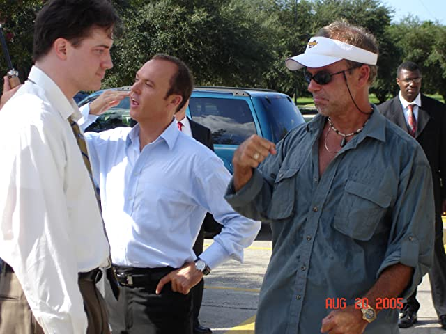 On the set of The Last Time with Brendan Fraser, Michael Keaton.