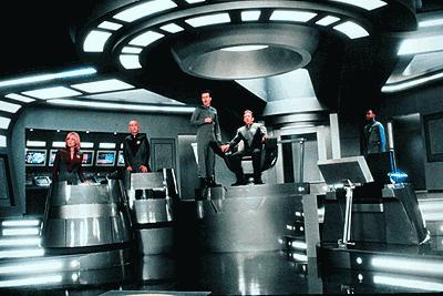The crew on the bridge of the Protector
