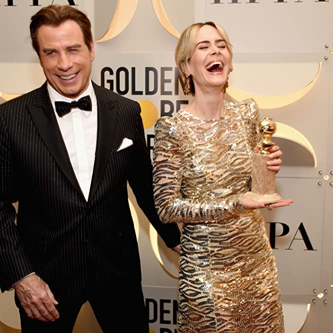 John Travolta and Sarah Paulson at an event for The 74th Golden Globe Awards (2017)