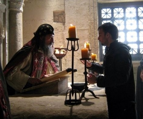 As Theophilus with director Alejandro Amenebar